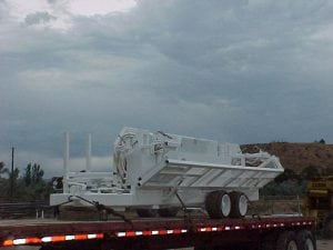 Pipe Trailer on flatbed trailer