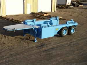 Overall view of goose neck shield hauler trailer