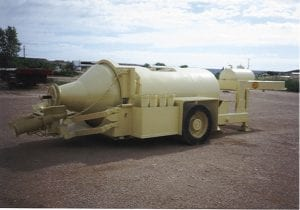 6 1/4 yard concrete trailer with single axle and discharge chutes
