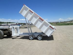 dump bed trailer with dump bed raised