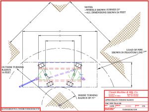 pipe trailer turning radius diagram