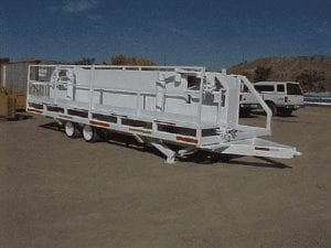 Pipe trailer viewed from the work deck side