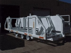 Pipe trailer with jacks to raise the pipe