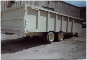 Bulk rock dust trailer from the rear