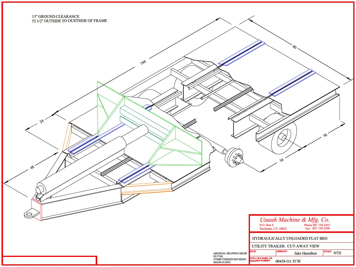 Push Plate Trailer Uintah Machine Utility Schematics Diagram