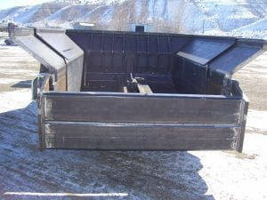 Rear end of coal hauler with telescoping bed