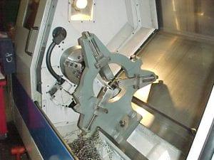 steady rest on a Daewoo slant bed CNC machine